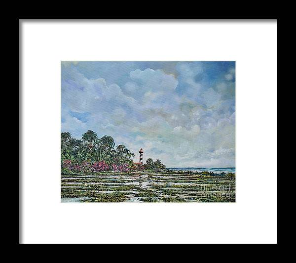 Nature Framed Print featuring the painting Lighthouse by Sinisa Saratlic
