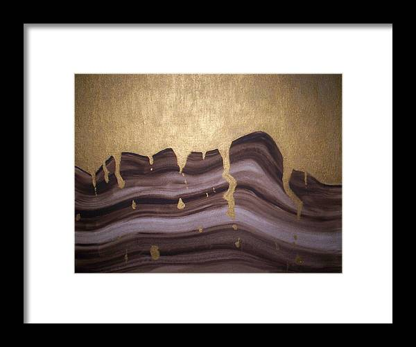 Abstract Framed Print featuring the painting Liquid Gold by Becca Haney