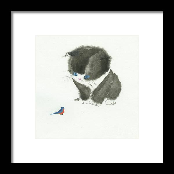 A Curious Little Cat Is Captivated By A Little Bird She Found. This Is A Simple Contemporary Chinese Brush Painting On Rice Paper. Framed Print featuring the painting Little Cat Found a Bird by Mui-Joo Wee