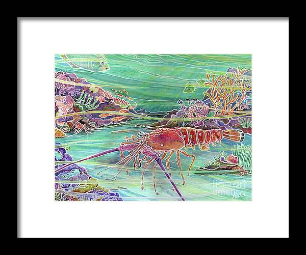 Underwater Framed Print featuring the painting Lobster Crossing by Amelia at Ameliaworks