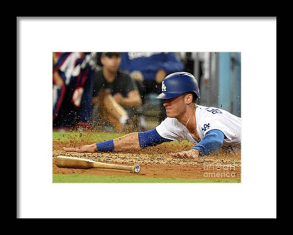 People Framed Print featuring the photograph Logan Forsythe and Cody Bellinger by Jayne Kamin-oncea