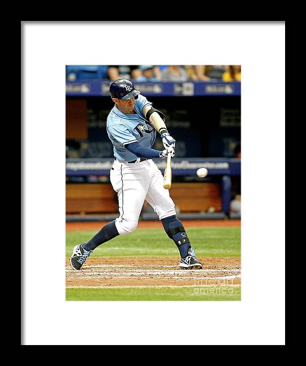 People Framed Print featuring the photograph Logan Forsythe and Evan Longoria by Brian Blanco