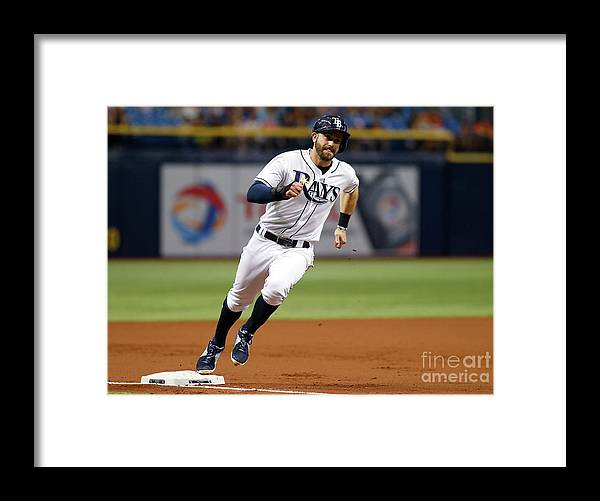 People Framed Print featuring the photograph Logan Morrison and Evan Longoria by Brian Blanco
