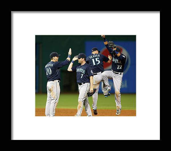 People Framed Print featuring the photograph Logan Morrison, Seth Smith, and Kyle Seager by Kirk Irwin