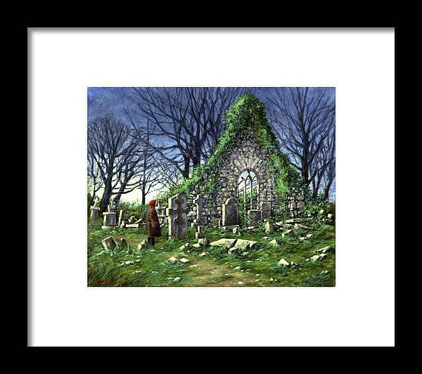 Landscape Framed Print featuring the painting Londonderry Stones by Jim Gola
