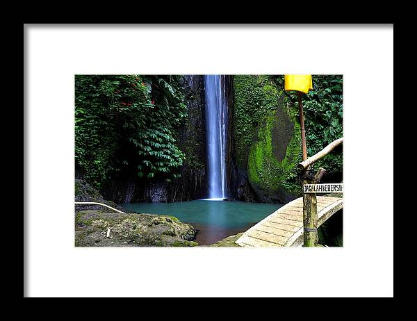 Waterfall Framed Print featuring the digital art Lonely waterfall by Worldvibes1