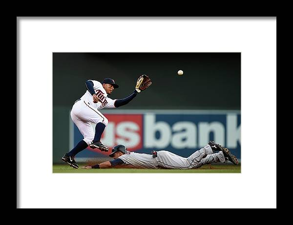 Second Inning Framed Print featuring the photograph Lonnie Chisenhall and Eduardo Escobar by Hannah Foslien