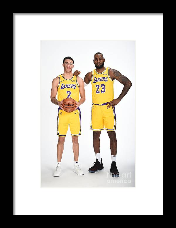 Media Day Framed Print featuring the photograph Lonzo Ball and Lebron James by Andrew D. Bernstein