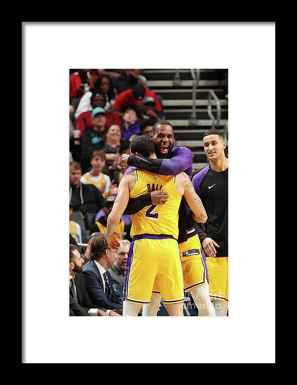 Nba Pro Basketball Framed Print featuring the photograph Lonzo Ball and Lebron James by Kent Smith