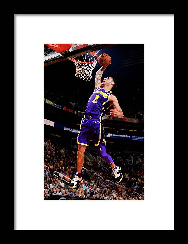 Nba Pro Basketball Framed Print featuring the photograph Lonzo Ball by Barry Gossage
