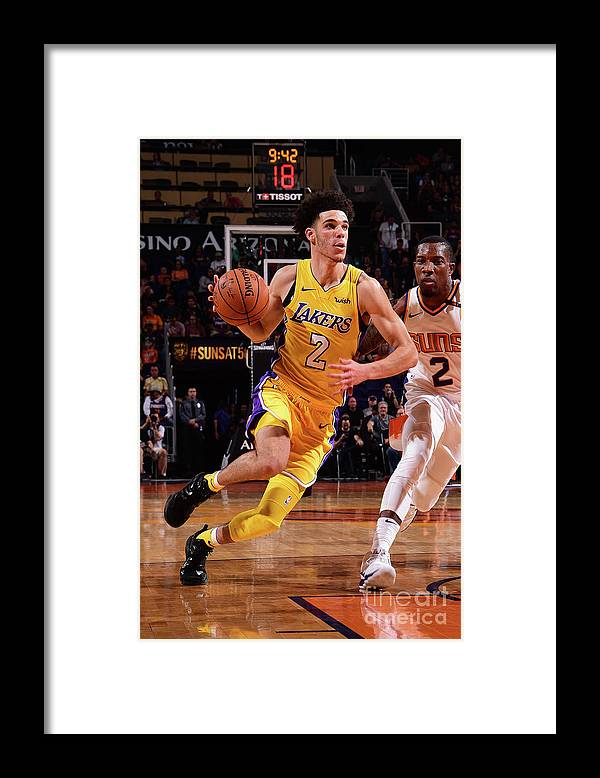 Nba Pro Basketball Framed Print featuring the photograph Lonzo Ball by Michael Gonzales