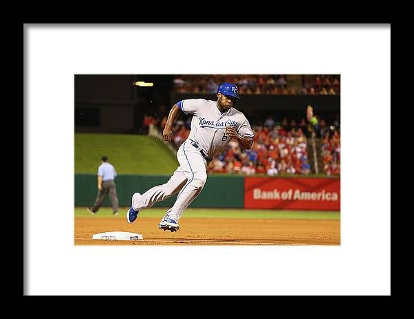 American League Baseball Framed Print featuring the photograph Lorenzo Cain by Dilip Vishwanat