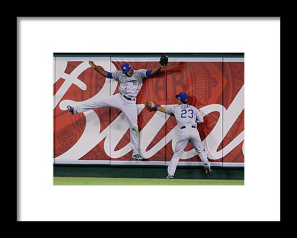 American League Baseball Framed Print featuring the photograph Lorenzo Cain by Jeff Gross