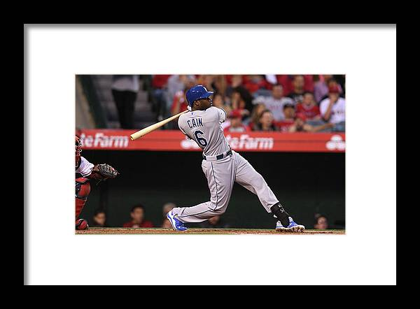 American League Baseball Framed Print featuring the photograph Lorenzo Cain by Stephen Dunn