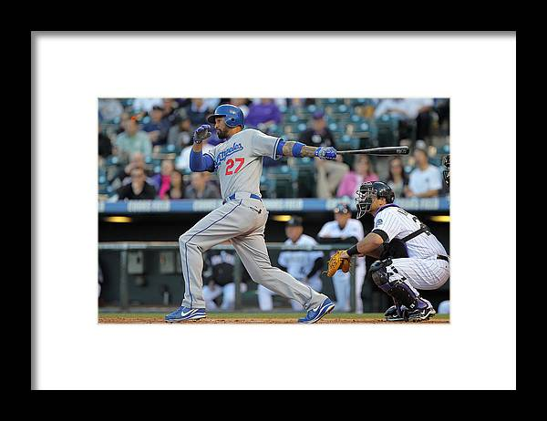 Los Angeles Dodgers Framed Print featuring the photograph Los Angeles Dodgers V Colorado Rockies by Doug Pensinger