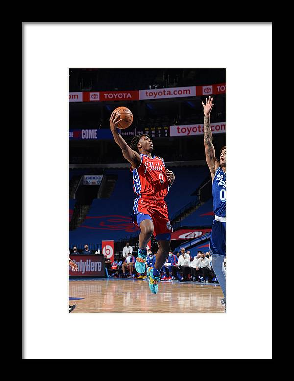 Nba Pro Basketball Framed Print featuring the photograph Los Angeles Lakers v Philadelphia 76ers by David Dow