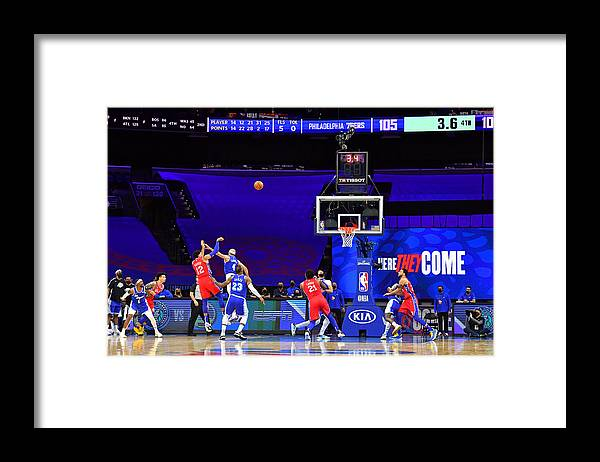 Framed Print featuring the photograph Los Angeles Lakers v Philadelphia 76ers by Jesse D. Garrabrant