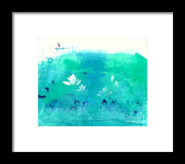 A Traveler Floating A Raft On A Lotus Pond. This Is A Contemporary Chinese Ink And Watercolor On Rice Paper Painting. Framed Print featuring the painting Lotus Pond by Mui-Joo Wee