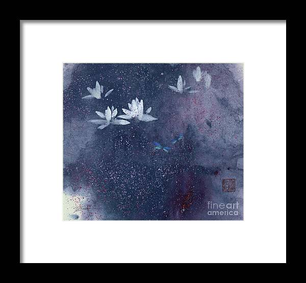 A Pair Of Dragonflies Doting Among Lotus Flowers. This Is A Contemporary Chinese Ink And Watercolor On Rice Paper Painting. Framed Print featuring the painting Lotus with Dragonflies by Mui-Joo Wee