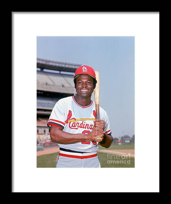 St. Louis Cardinals Framed Print featuring the photograph Lou Brock by Lou Requena
