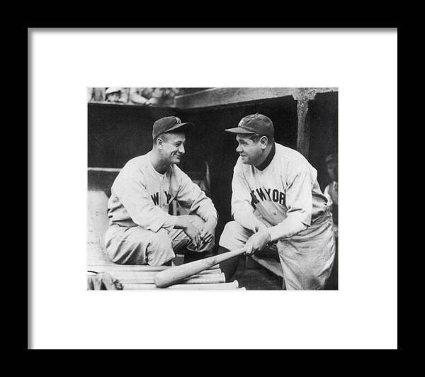 1930-1939 Framed Print featuring the photograph Lou Gehrig and Babe Ruth by Mpi