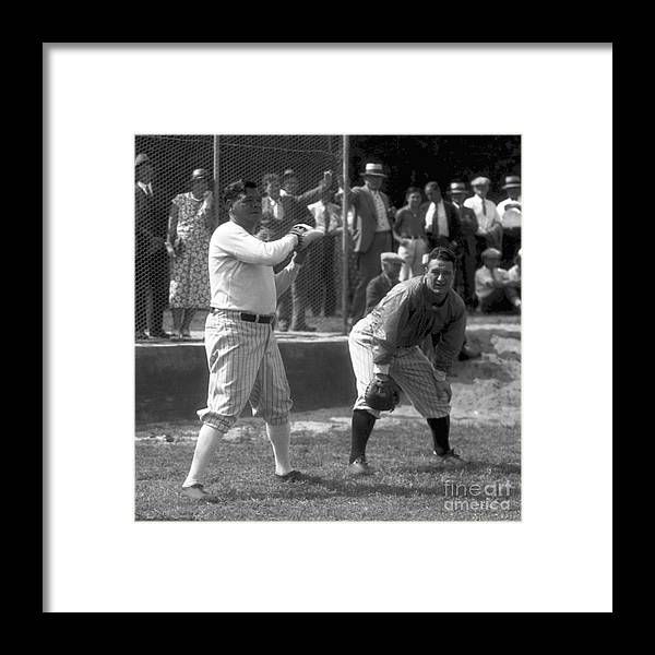 American League Baseball Framed Print featuring the photograph Lou Gehrig and Babe Ruth by Olen Collection