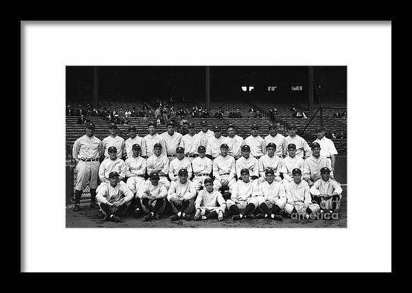 People Framed Print featuring the photograph Lou Gehrig and Babe Ruth by Transcendental Graphics