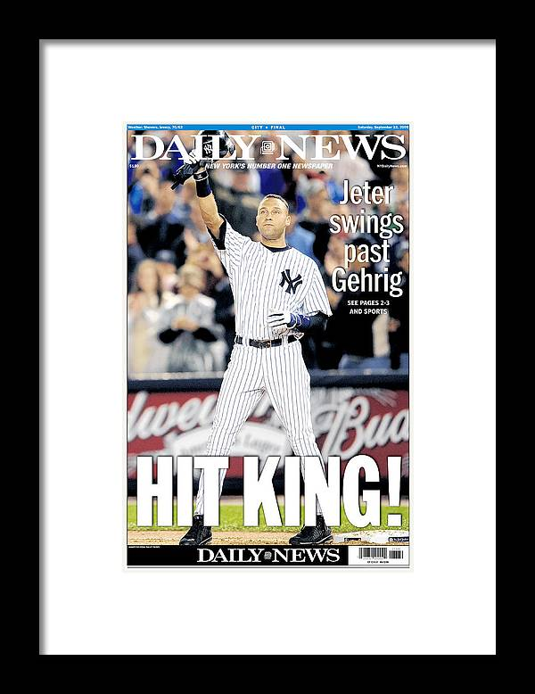 American League Baseball Framed Print featuring the photograph Lou Gehrig And Derek Jeter by New York Daily News Archive