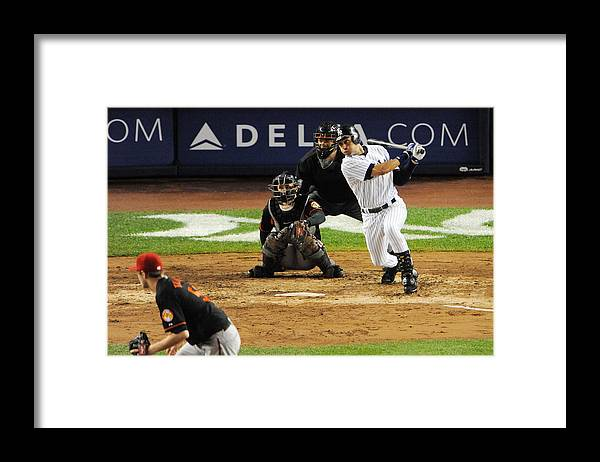 American League Baseball Framed Print featuring the photograph Lou Gehrig and Derek Jeter by New York Daily News