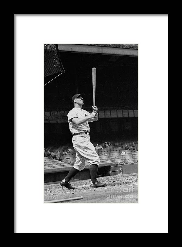 People Framed Print featuring the photograph Lou Gehrig by Kidwiler Collection