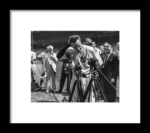 American League Baseball Framed Print featuring the photograph Lou Gehrig by The Stanley Weston Archive
