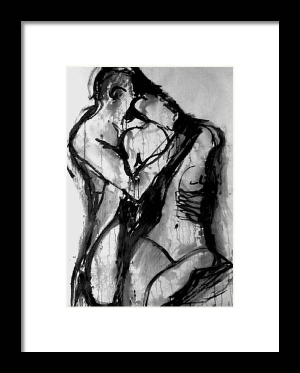 Couple Framed Print featuring the painting Love Me Tender by Jarmo Korhonen aka Jarko