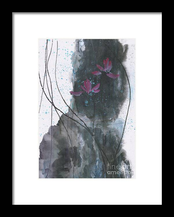 Lotus Emerged Out Of The Sludge Framed Print featuring the painting Lovely Lotus by Mui-Joo Wee