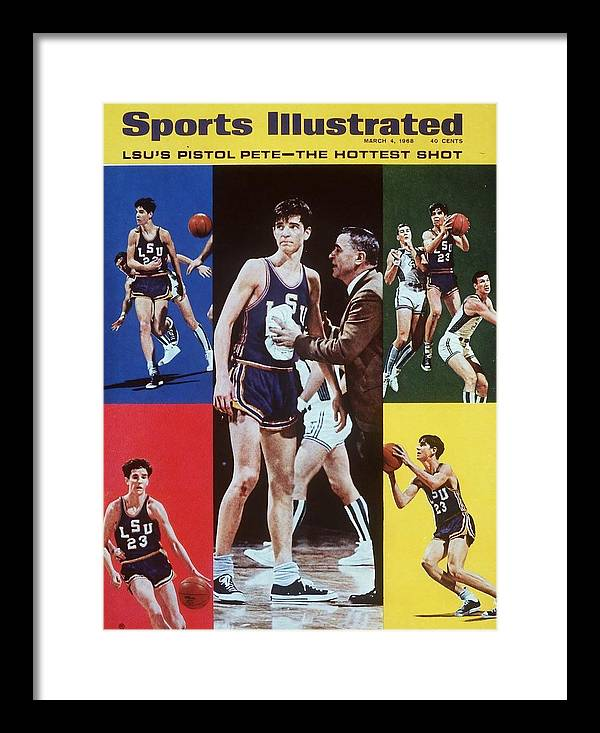 Magazine Cover Framed Print featuring the photograph Lsu Pete Maravich Sports Illustrated Cover by Sports Illustrated