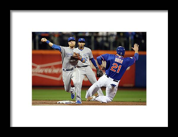 Playoffs Framed Print featuring the photograph Lucas Duda and Ben Zobrist by Brad Mangin