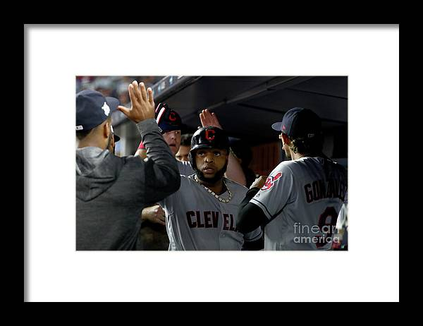People Framed Print featuring the photograph Luis Severino, Carlos Santana, and Jay Bruce by Al Bello