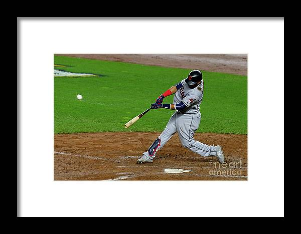People Framed Print featuring the photograph Luis Severino, Carlos Santana, And Jay Bruce by Mike Stobe