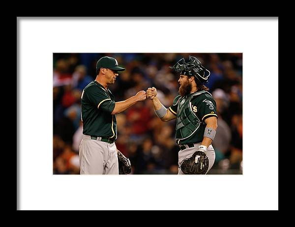 American League Baseball Framed Print featuring the photograph Luke Gregerson and Derek Norris by Otto Greule Jr