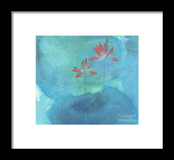 Lotus Emerged Out Of The Sludge Framed Print featuring the painting Luminous by Mui-Joo Wee