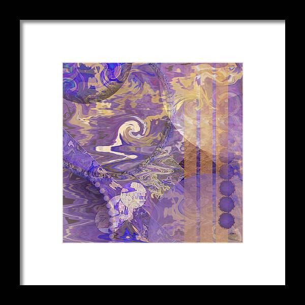 Lunar Framed Print featuring the digital art Lunar Impressions - Square Version by Studio B Prints