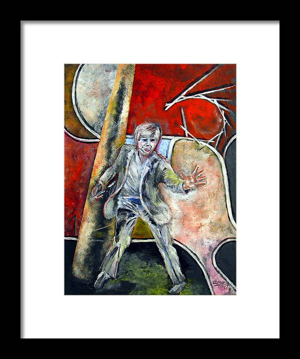 Male Framed Print featuring the painting Mad World by Tom Conway