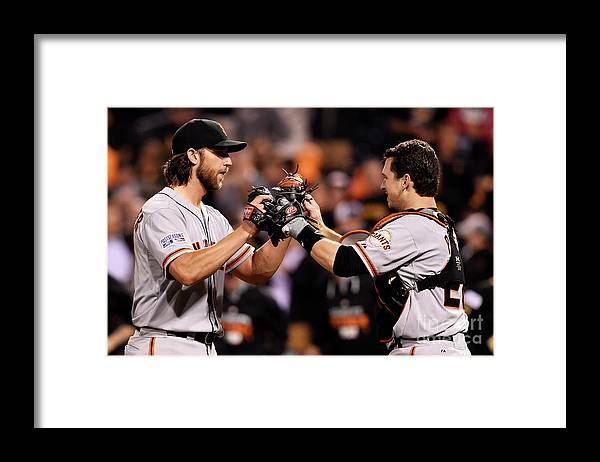 Pnc Park Framed Print featuring the photograph Madison Bumgarner and Buster Posey by Jason Miller