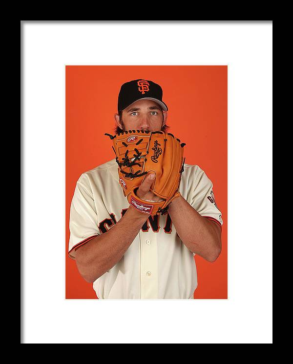 Media Day Framed Print featuring the photograph Madison Bumgarner by Christian Petersen
