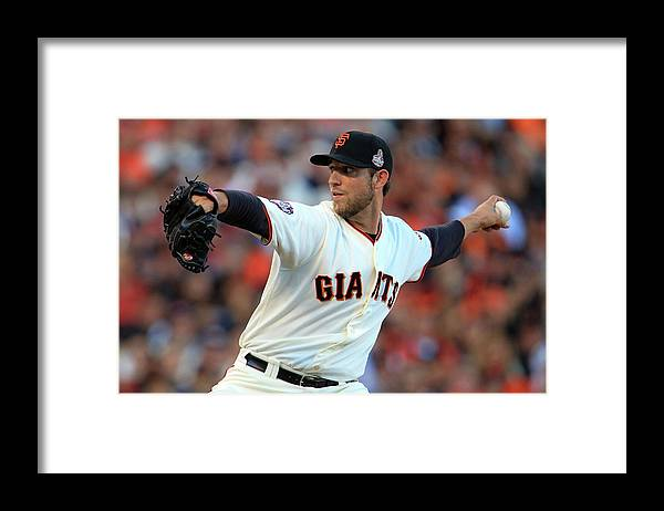 Game Two Framed Print featuring the photograph Madison Bumgarner by Doug Pensinger