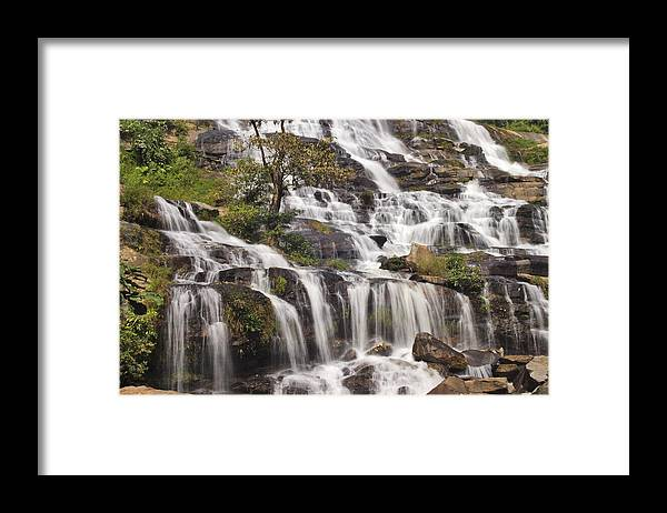 3scape Framed Print featuring the photograph Mae Ya Waterfall by Adam Romanowicz