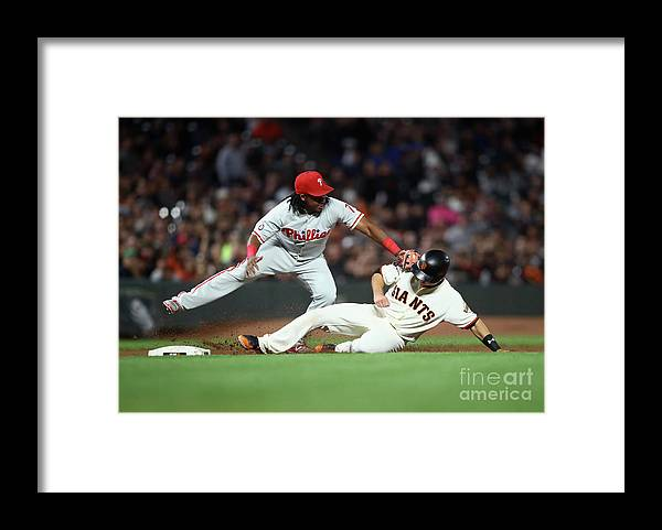 San Francisco Framed Print featuring the photograph Maikel Franco and Buster Posey by Ezra Shaw