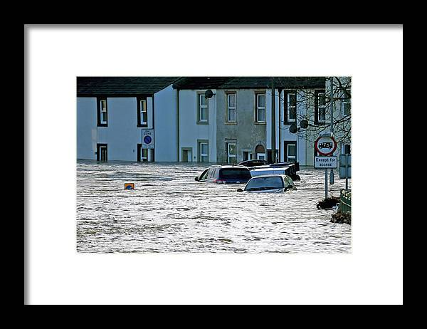 England Framed Print featuring the photograph Major Incident Declared As Storm Desmond Wreaks Havoc In Cumbria by Christopher Furlong