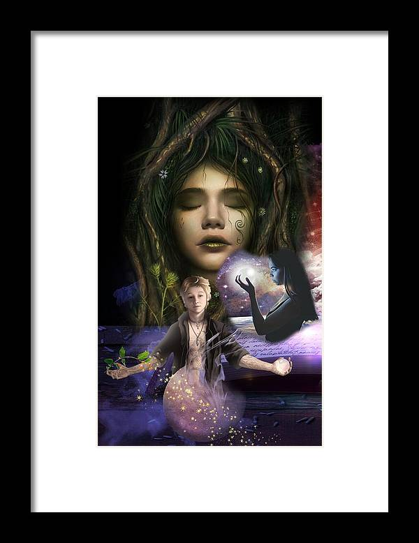 Fairy Tales Framed Print featuring the digital art Make and Believe in Darkness into Light by Laura Botsford