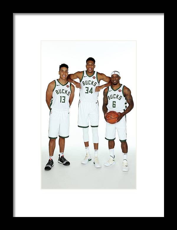 Media Day Framed Print featuring the photograph Malcolm Brogdon, Giannis Antetokounmpo, and Eric Bledsoe by Gary Dineen