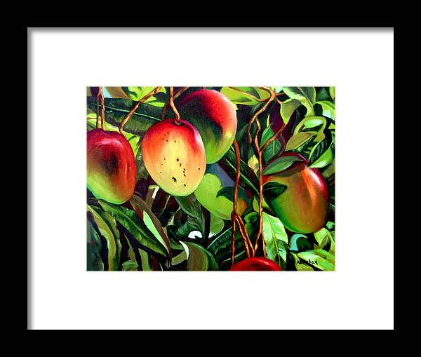Tree Framed Print featuring the painting Mangos by Jose Manuel Abraham